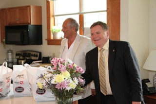 Bob Agentis and Scott Craver Deliver of Shula's Donations to the Hospice House